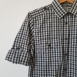 Express Fitted Roll Sleeve Shirt 14-14.5 Gingham